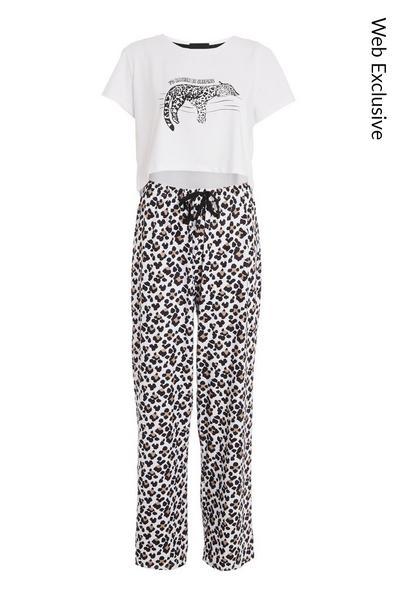 White Leopard Print Long Pyjama Set